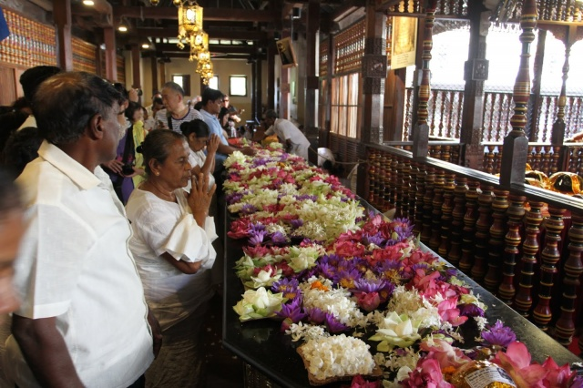 Flower altar in the Sacred Tooth Relic Palace