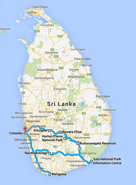Tour map in Sri Lanka