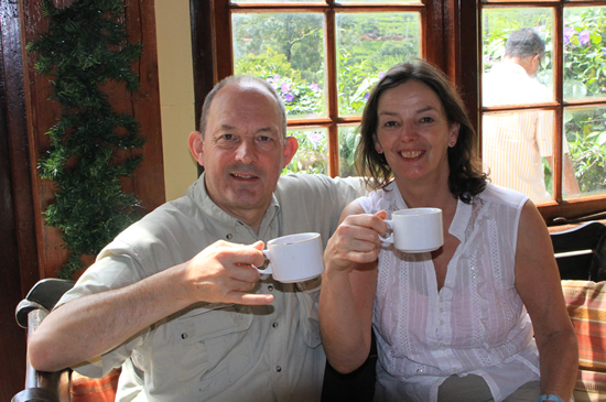 Tour in Sri Lanka - Dr John Poyser and Mrs Jan Loyed enjoying Sri Lankan tea