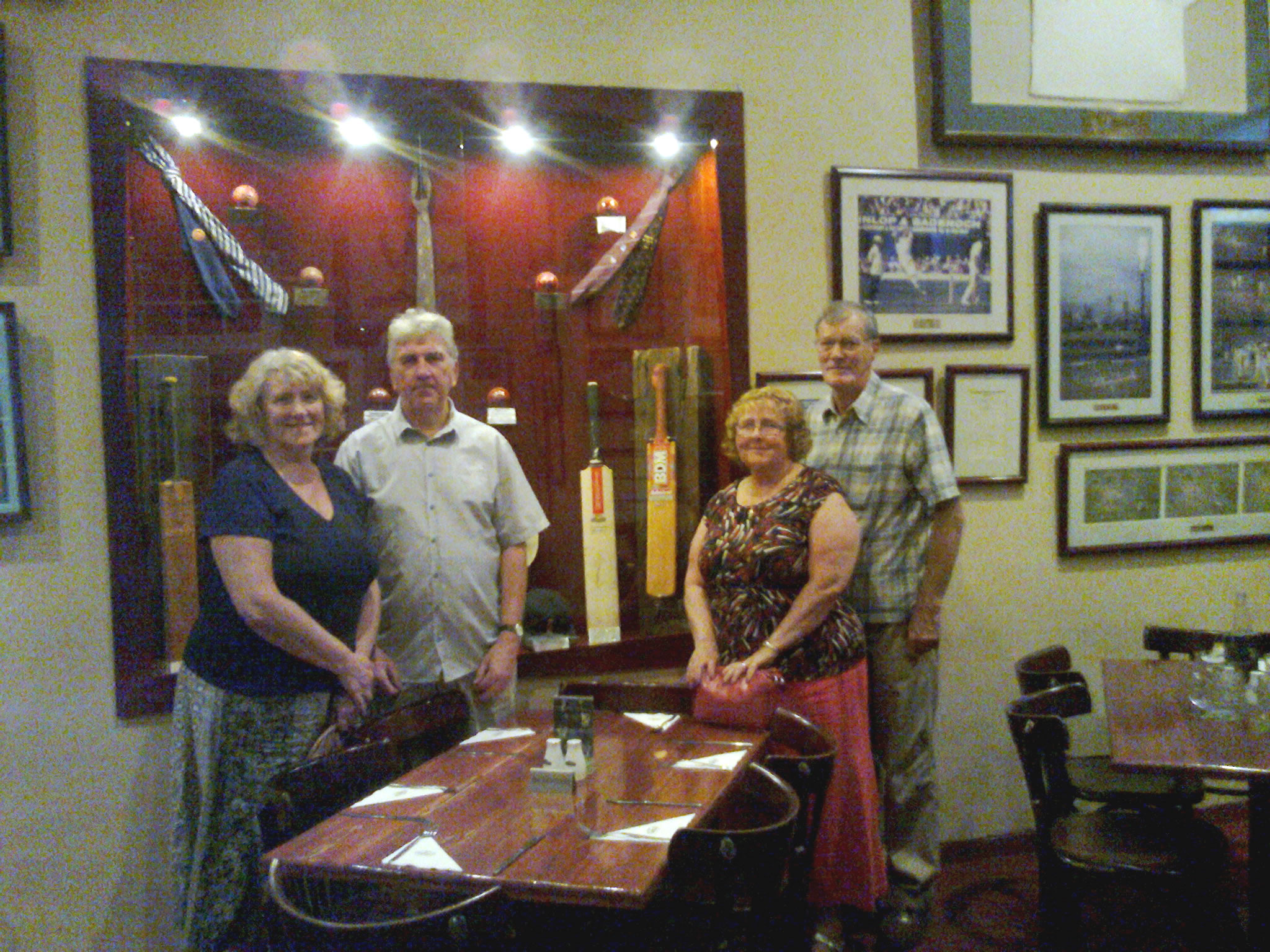 Pat & Garry and Monica and John Kirby at the Cricket Club - a specail restaurent for Criket Fans